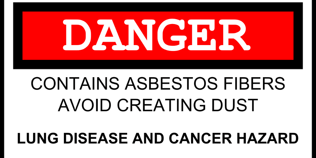 sign saying danger contains asbestos fibers avoid creating dust lung disease and cancer hazard.