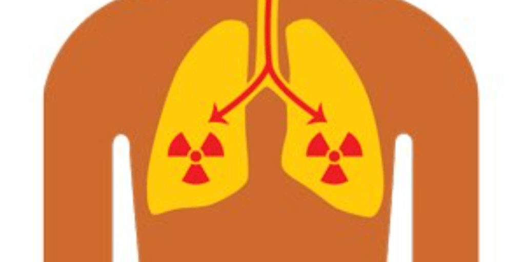 diagram of radon inside the lungs